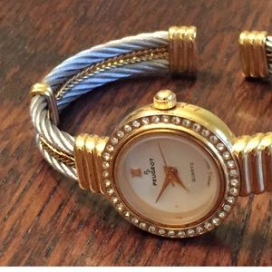 Nice Peugeot Crystal Bezel Double Cable Cuff watch